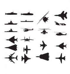 army vehicle silhouettes vector image