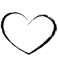 black heart drawing love valentine vector image vector image