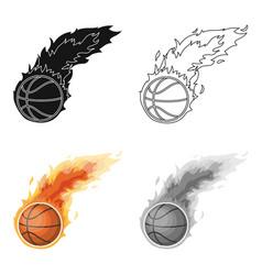 fireballbasketball single icon in cartoon style vector image