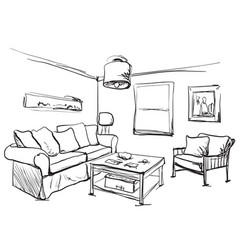 room interior sketch table sofa and other vector image vector image