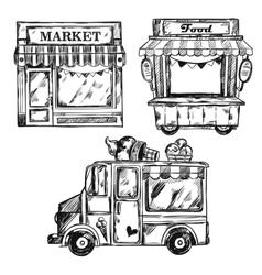 Vintage Shop Facade Icon Set vector image