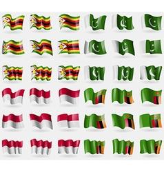 Zimbabwe pakistan indonesia zambia set of 36 flags vector