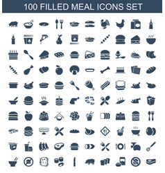 100 meal icons vector