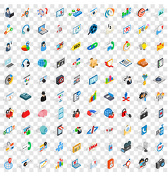 100 post and mail icons set isometric 3d style vector