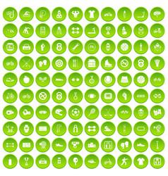 100 sport icons set green circle vector