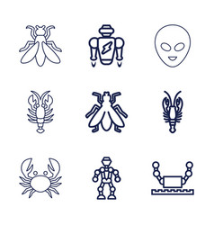9 creature icons vector