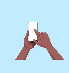 african american human hands holding smartphone vector image