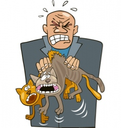 Angry man with cats vector