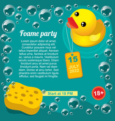 Aqua foam party promotional template vector
