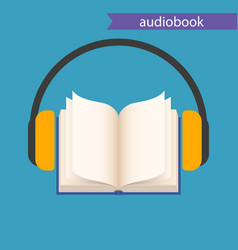 Audiobook icon open book and headphones on blue vector