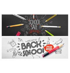 Back to school special offer banners special vector