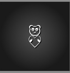 bear toy with heart icon flat vector image