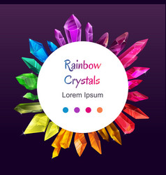 Beautiful colorful crystal banner ruby emerald vector