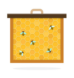 Bee honeycomb flat material design isolated vector
