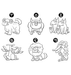black and white horoscope zodiac signs with dogs vector image