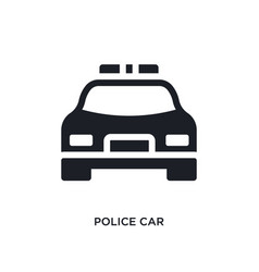 Black police car isolated icon simple element vector