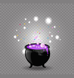 black witch cauldron with pink potion sparkles vector image