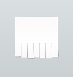 Blank sheet paper advertising with cut slips vector