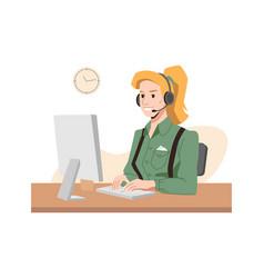 blonde operator in headphones call center worker vector image