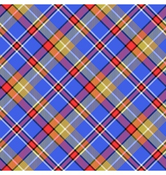 Blue madras bright color tartan seamless fabric vector