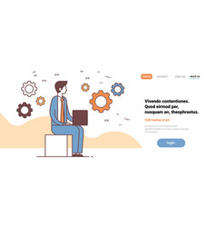 businessman sitting pose using laptop hardworking vector image