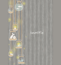 Candle and bottle decorate with sea life vector