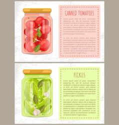 Canned tomatoes and pickles vector