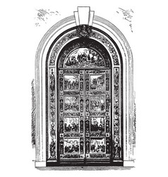 Capitol door frame and hardware vintage engraving vector