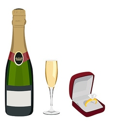 Champagne and jewelry box vector