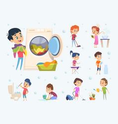 children housework little kids boys and girls vector image