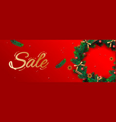 christmas sale banner holiday horizontal vector image