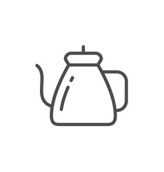 Coffee kettle line icon vector