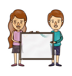 Color crayon stripe cartoon full body couple vector