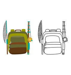 Colorful camping backpack in flat design with vector