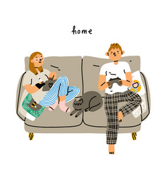 Couple chilling on a couch vector