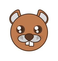 cute beaver face kawaii style vector image