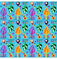 cute birds in the trees nature pattern vector image