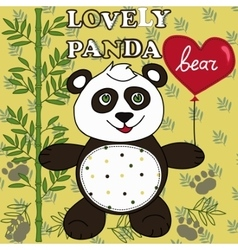 Cute Panda with heart vector