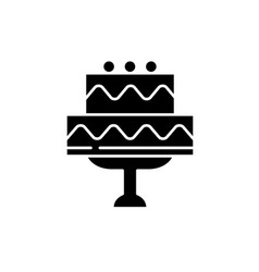 cute wedding cake black icon sign on vector image