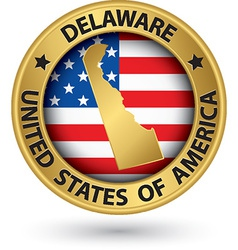 Delaware state gold label with state map vector