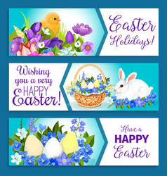 Easter banners of pashcal greetings vector