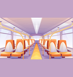 empty bus interior with orange seats vector image