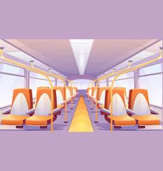 Empty bus interior with orange seats vector