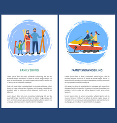 family skiing snowmobiling hobby in winter season vector image