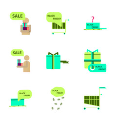Flat assembly icons of black friday set vector