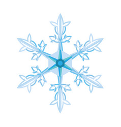 flat blue snowflake on a white background vector image