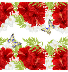 Floral horizontal border seamless background vector