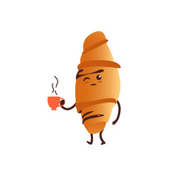 funny croissant with tea cup breakfast character vector image