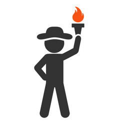 Gentleman with freedom torch flat icon vector