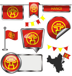 Glossy icons with flag of hanoi vector